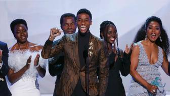 25th Screen Actors Guild Awards - Show - Los Angeles, California, U.S., January 27, 2019 - Cast member Chadwick Boseman speaks in front of the cast of Black Panther after the film won Outstanding Performance by a Cast in a Motion Picture. REUTERS/Mike Blake
