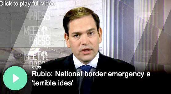 "Rubio rips wall emergency declaration as a 'terrible idea."""
