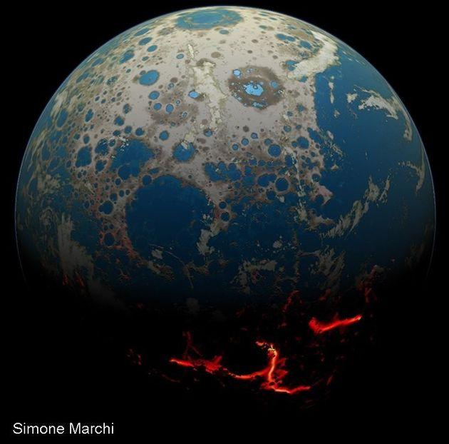 잦은 소행성 충돌로 수많은 분화구가 생긴 원시 지구