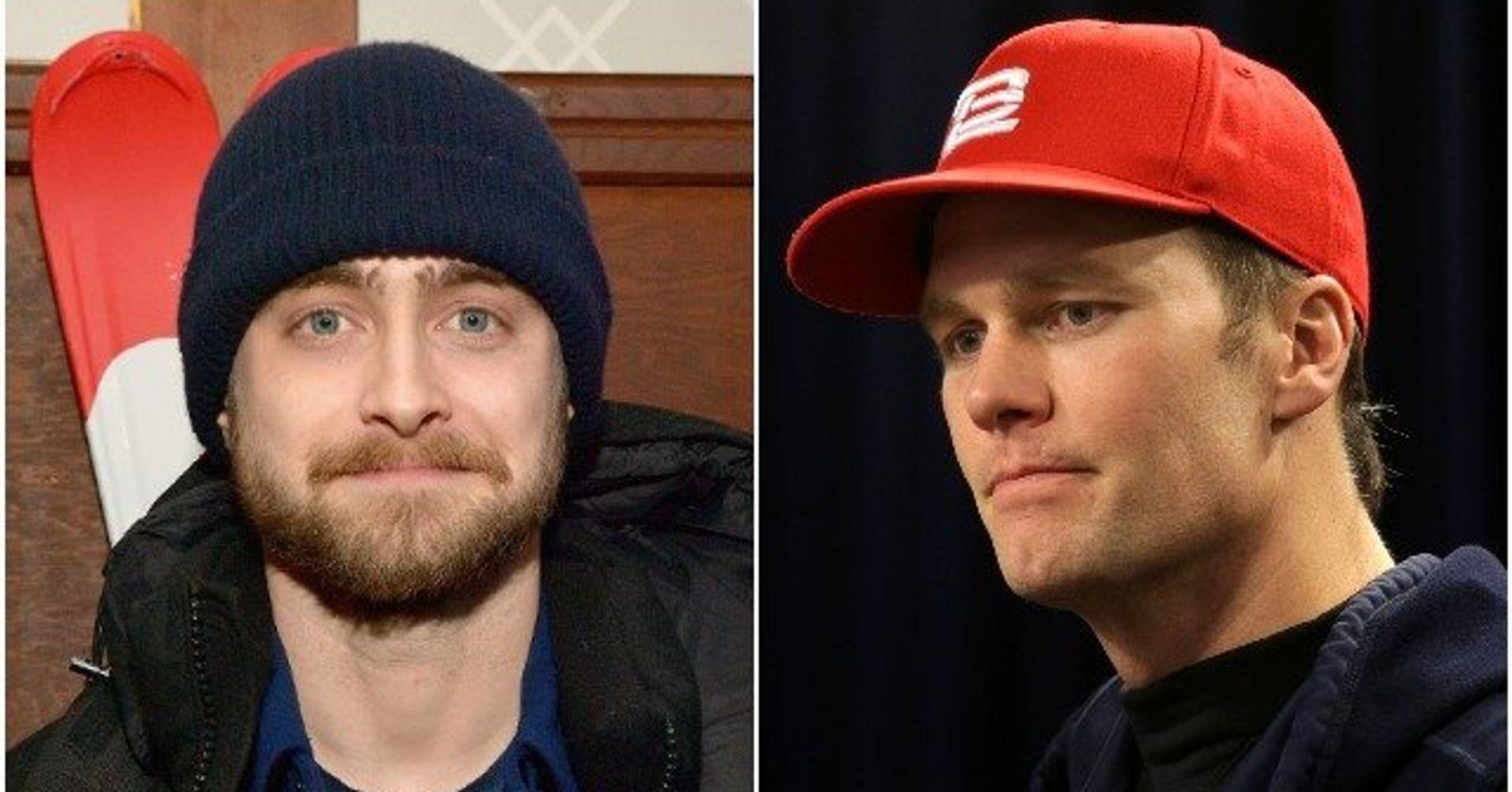 ba3caa731cf72 Daniel Radcliffe Rips Tom Brady s MAGA Hat