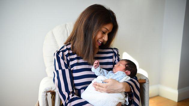 Tulip Sidiq with her newborn