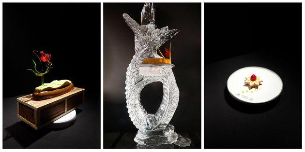De gauche à droite, les réalisations en chocolat du Maroc, la sculpture de glace du Chili...