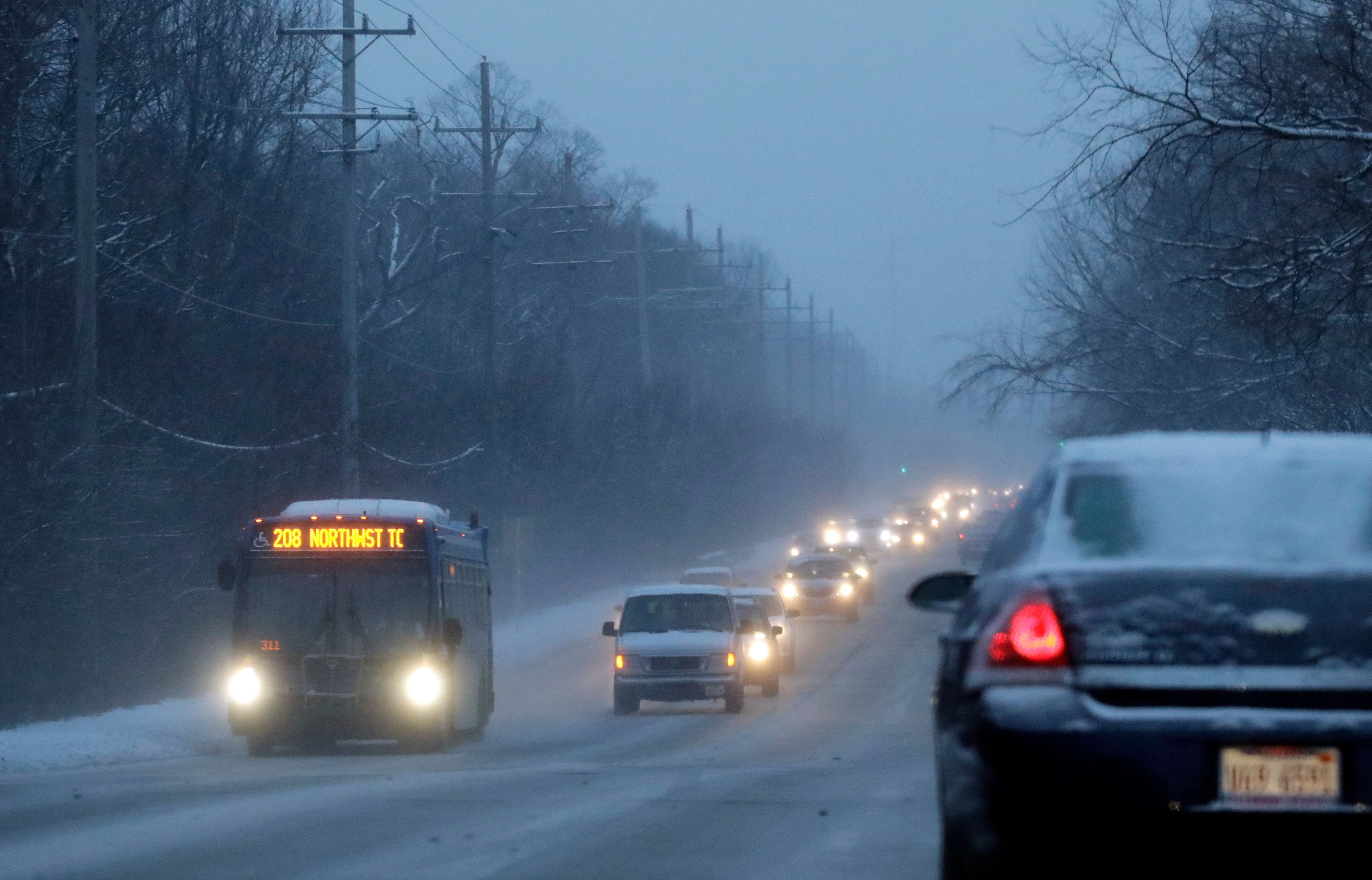 "Heavy traffic is seen on a road, Friday, Jan. 25, 2019, in Chicago. Dangerously cold weekend weather will be followed by a storm that could leave more than 6 inches of snow on the ground before an arctic blast brings a three-day stretch ""of potentially life-threatening cold"" to the Chicago area, according to the National Weather Service. (AP Photo/Nam Y. Huh)"