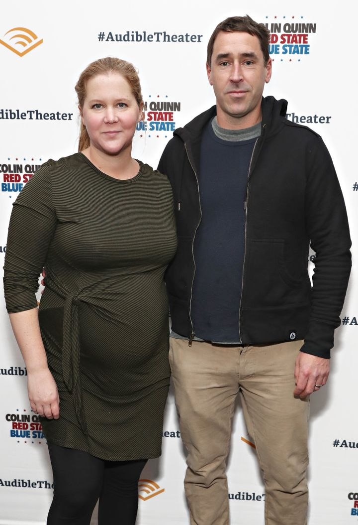 "Amy Schumer and Chris Fischer attend the opening night of ""Colin Quinn: Red State Blue State"" on Jan. 22 in New York City.&nb"