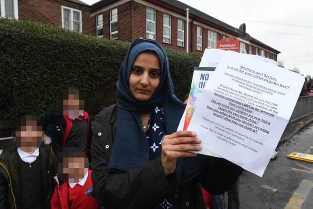 Fatima Shah protesting outside Parkfield Community School which she and other parents are accusing...