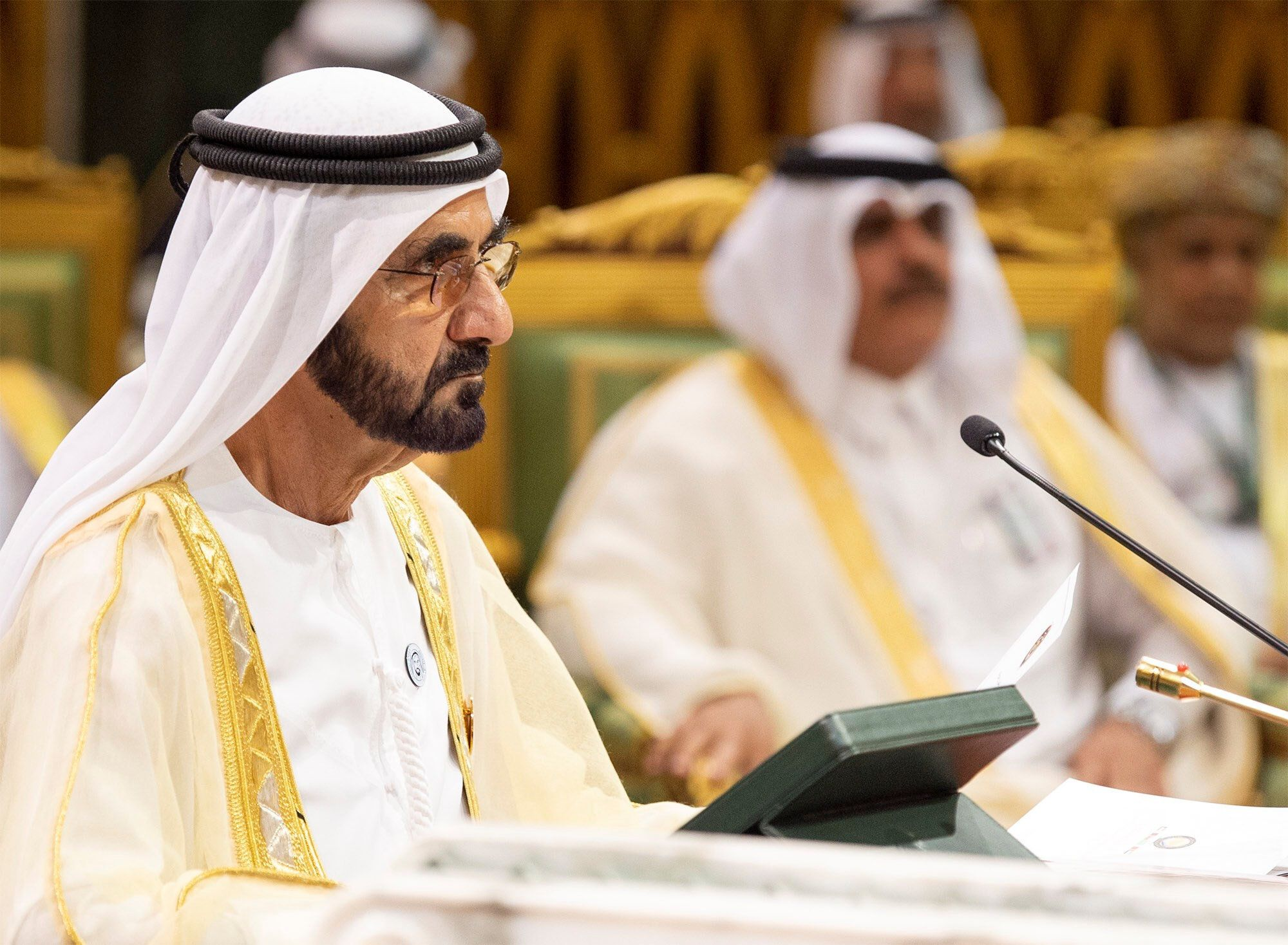Prime Minister and Vice-President of the United Arab Emirates and ruler of Dubai Sheikh Mohammed bin Rashid al-Maktoum attends the Gulf Cooperation Council's (GCC) Summit in Riyadh, Saudi Arabia December 9, 2018. Bandar Algaloud/Courtesy of Saudi Royal Court/Handout via REUTERS   ATTENTION EDITORS - THIS PICTURE WAS PROVIDED BY A THIRD PARTY