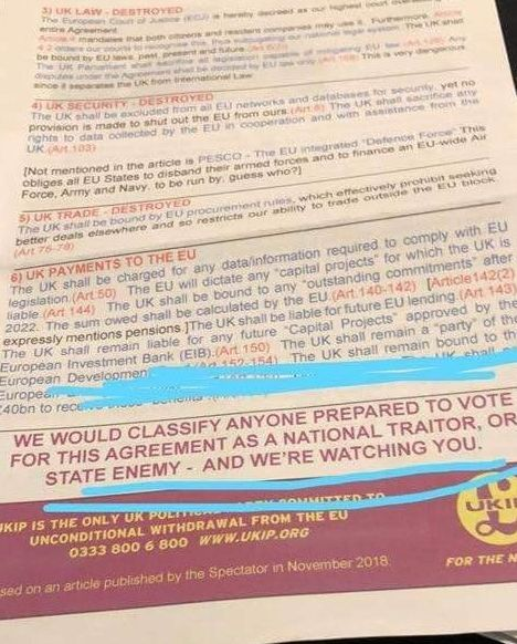 Copies of the leaflet were distributed outside Westminster the day of the so-called meaningful vote on...