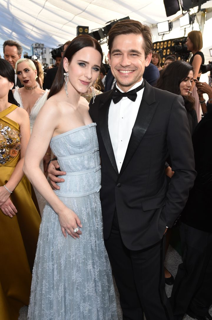Rachel Brosnahan and husband Jason Ralph at the Screen Actors Guild Awards Sunday evening.
