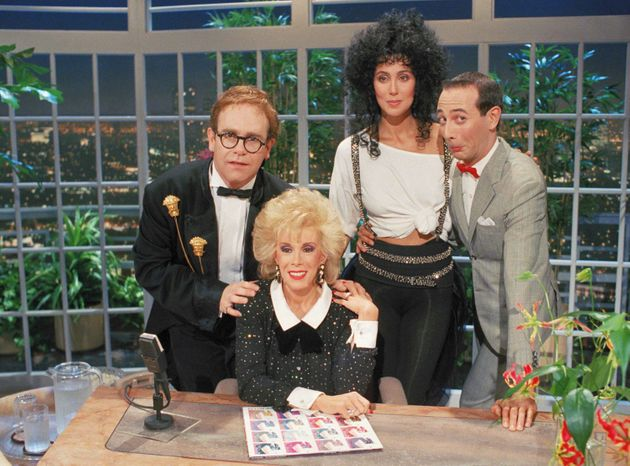 """Elton John, Joan Rivers, Cher andPaul Reubens on the inaugural episode of""""The Late..."""