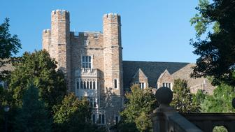 Durham, USA - August 10, 2017. Building tower in the campus of Duke University. Duke University is a top private institution founded in 1838. It is located in the urban area of Durham, North Carolina, with a undergraduate enrollmen of over 6,600.