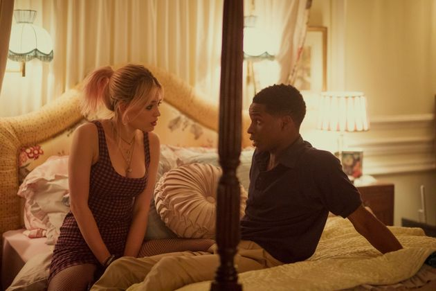 Maeve (Emma Mackey) and Jackson (Kedar Williams-Stirling) discuss whether to make out in