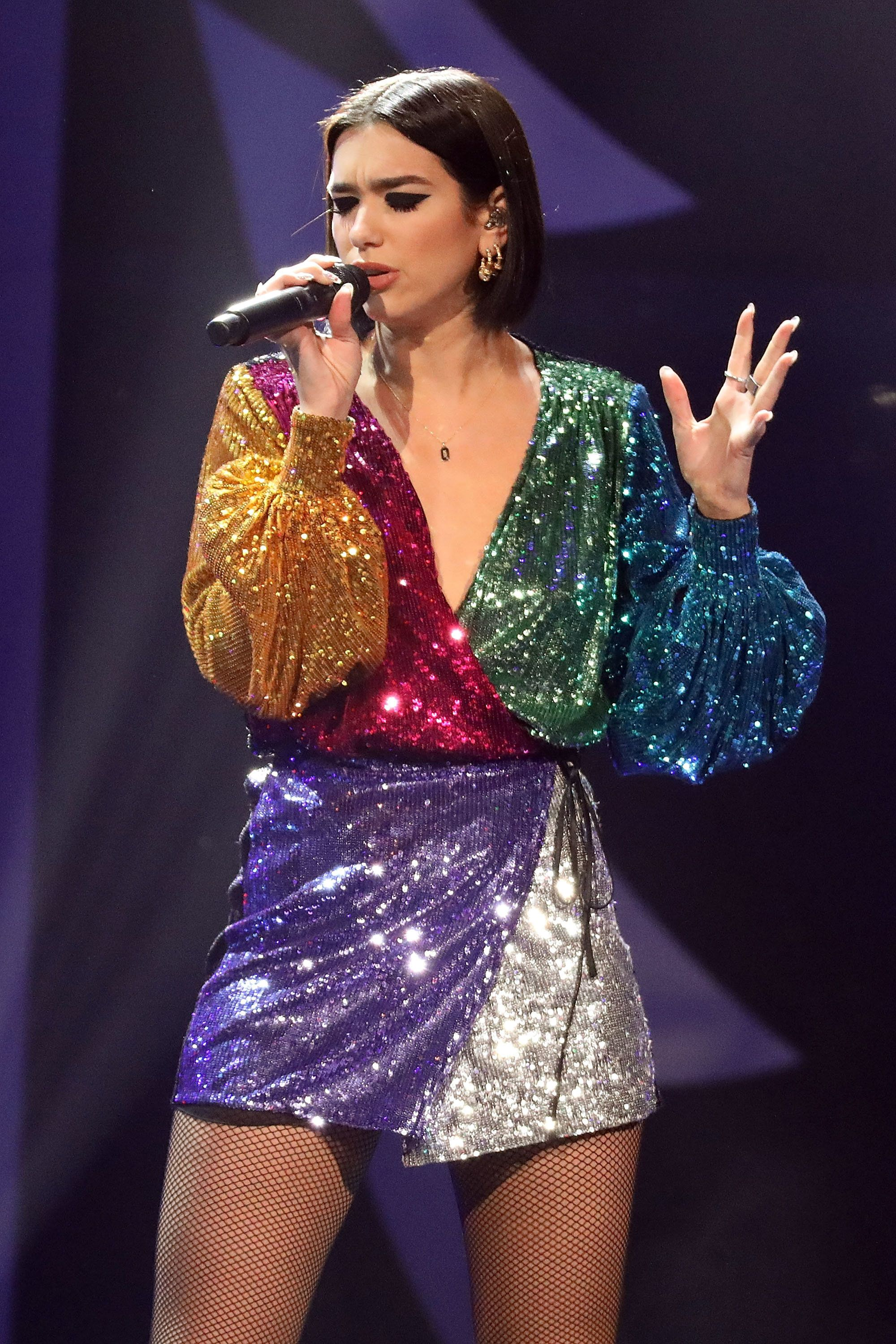 NEW YORK, NY - DECEMBER 07:  Dua Lipa performs during the 2018 Z100 Jingle Ball at Madison Square Garden on December 7, 2018 in New York City.  (Photo by Taylor Hill/FilmMagic)