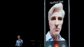Craig Federighi, Apple's senior vice president of Software Engineering, speaks about group FaceTime during an announcement of new products at the Apple Worldwide Developers Conference Monday, June 4, 2018, in San Jose, Calif. (AP Photo/Marcio Jose Sanchez)