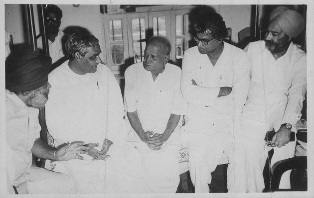 Atal Bihari Vajpayee, George Fernandes and other leaders with Lok Nayak Jayaprakash Narayan on 28 June,