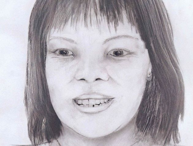 An artist's impression of the body of the woman who was found dumped in a stream in the Yorkshire Dales...