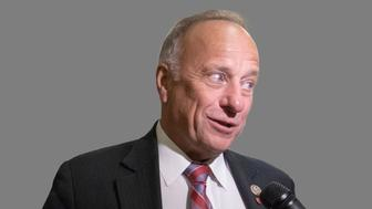 Steve King headshot, as US Representative of Iowa, graphic element on gray