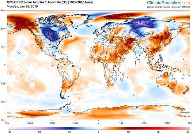 Predicted daily mean, near-surface temperature (C) differences from normal (relative to 1979-2000) for...