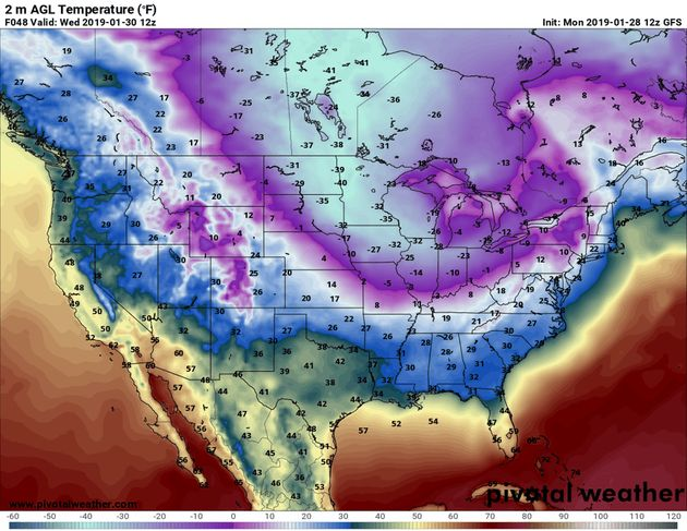 Predicted near-surface air temperatures (F) for Wednesday morning, Jan. 30, 2019. Forecast by NOAA's...