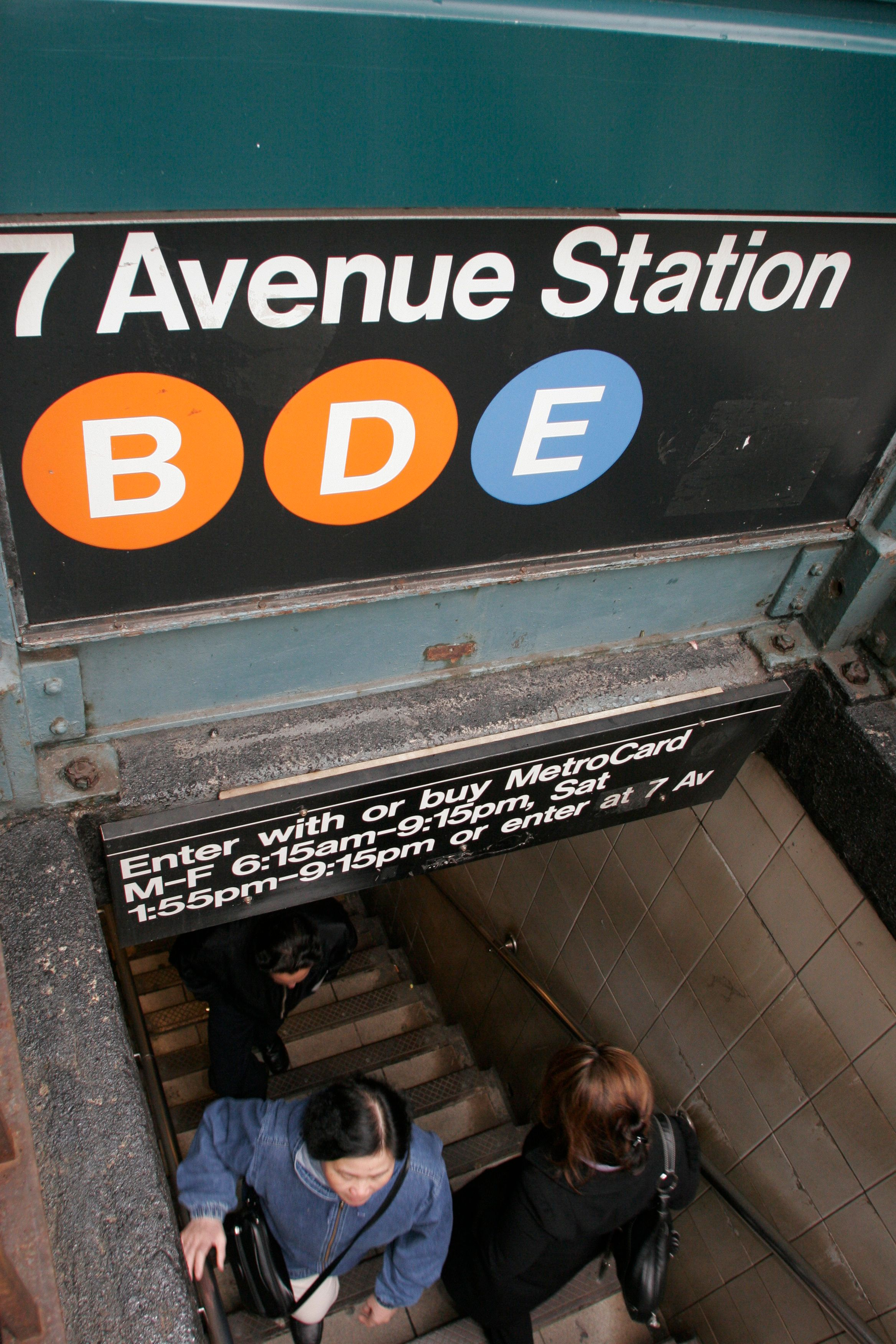 The subway station entrance sign on 50th Street. (Photo by: Jeffrey Greenberg/UIG via Getty Images)