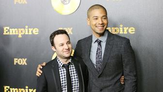 HOLLYWOOD, CA - JANUARY 06:  Danny Strong (L) and Jussie Smollett arrive at the Los Angeles premiere of 'Empire' held at ArcLight Cinemas Cinerama Dome on January 6, 2015 in Hollywood, California.  (Photo by Michael Tran/FilmMagic)