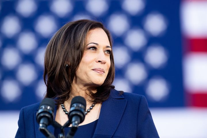 California's Sen. Kamala Harris at her presidential campaign rally in Oakland on Jan. 27. Her decision to take pun