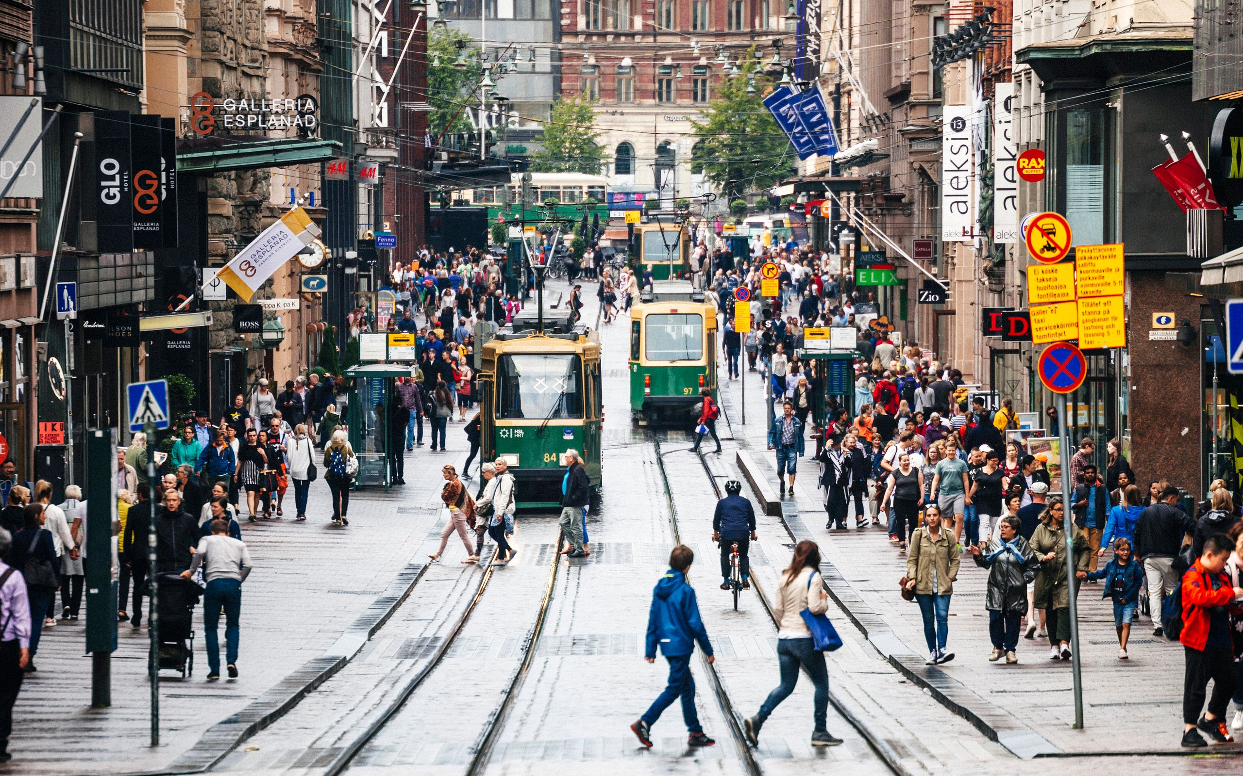 A street in the center of Helsinki, Finland. More than half of the country's homeless people live in the city.