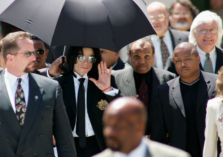 Michael Jackson leaves the Santa Barbara County Courthouse in California after being acquitted on all 10 counts in his 2005 m