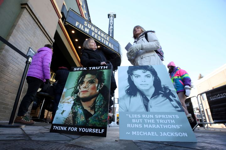 "Protesters outside the Sundance Film Festival premiere of ""Leaving Neverland"" on Jan. 25."