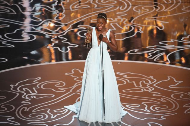 Nyong'o accepting the Best Supporting Actress Oscar for
