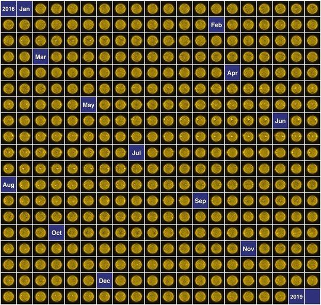 매일 촬영한 사진 중 대표적인 것을 골라 2018년 태양 캘린더을 완성했다. 유럽우주국