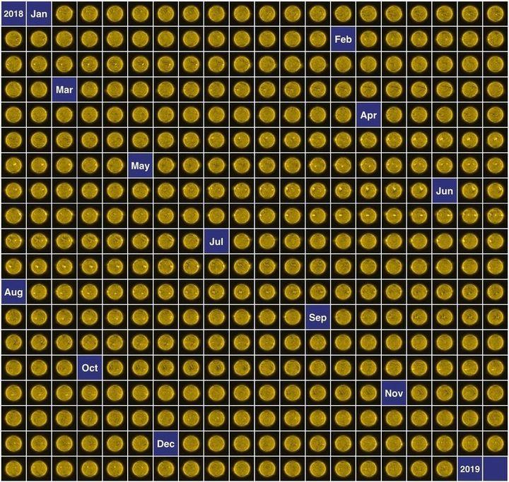 매일 촬영한 사진 중 대표적인 것을 골라 2018년 태양 캘린더을 완성했다. 유럽우주국 제공.