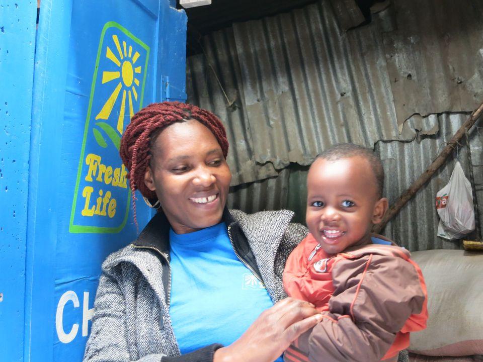 Einer der Franchisenehmer von Sanergy, bekannt als Fresh Life Operators, befindet sich im Stadtteil Mukuru...