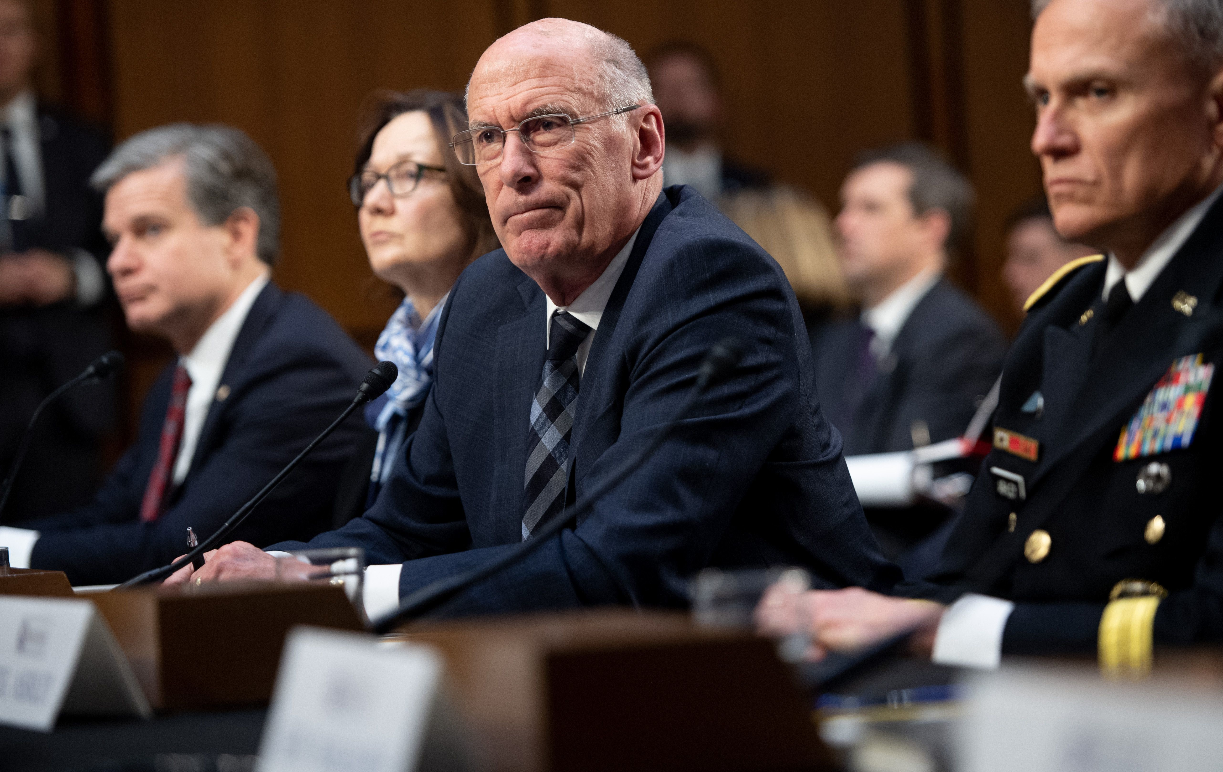 Daniel Coats (C), director of National Intelligence testifies on Worldwide Threats during a Senate Select...