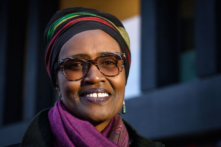 Executive director of Oxfam International, Winnie Byanyima, sat the World Economic Forum meeting in Davos, on Jan. 21, 2019.