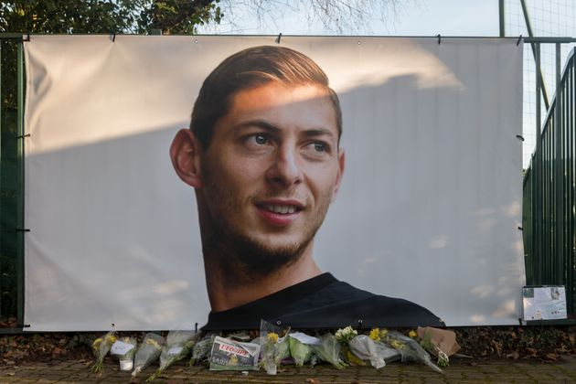 A memorial to Emiliano Sala in front of the entrance of the FC Nantes football club in