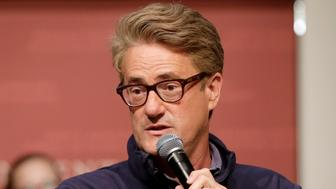 "MSNBC television anchor Joe Scarborough, co-hosts of the show ""Morning Joe,"" takes questions from an audience, Wednesday, Oct. 11, 2017, at a forum called Harvard Students Speak Up: A Town Hall on Politics and Public Service, at the John F. Kennedy School of Government, on the campus of Harvard University, in Cambridge, Mass. Co-host of the show Mika Brzezinski, not shown, also participated in the event. (AP Photo/Steven Senne)"