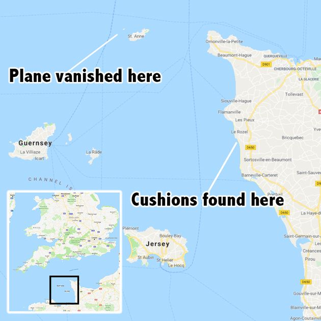 The missing small plane vanished from radar near to Alderney in the Channel Islands last