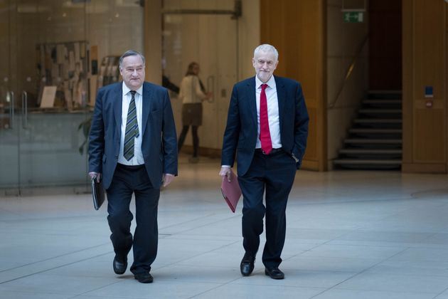 Labour chief whip Nick Brown and Jeremy Corbyn head to the meeting with Theresa