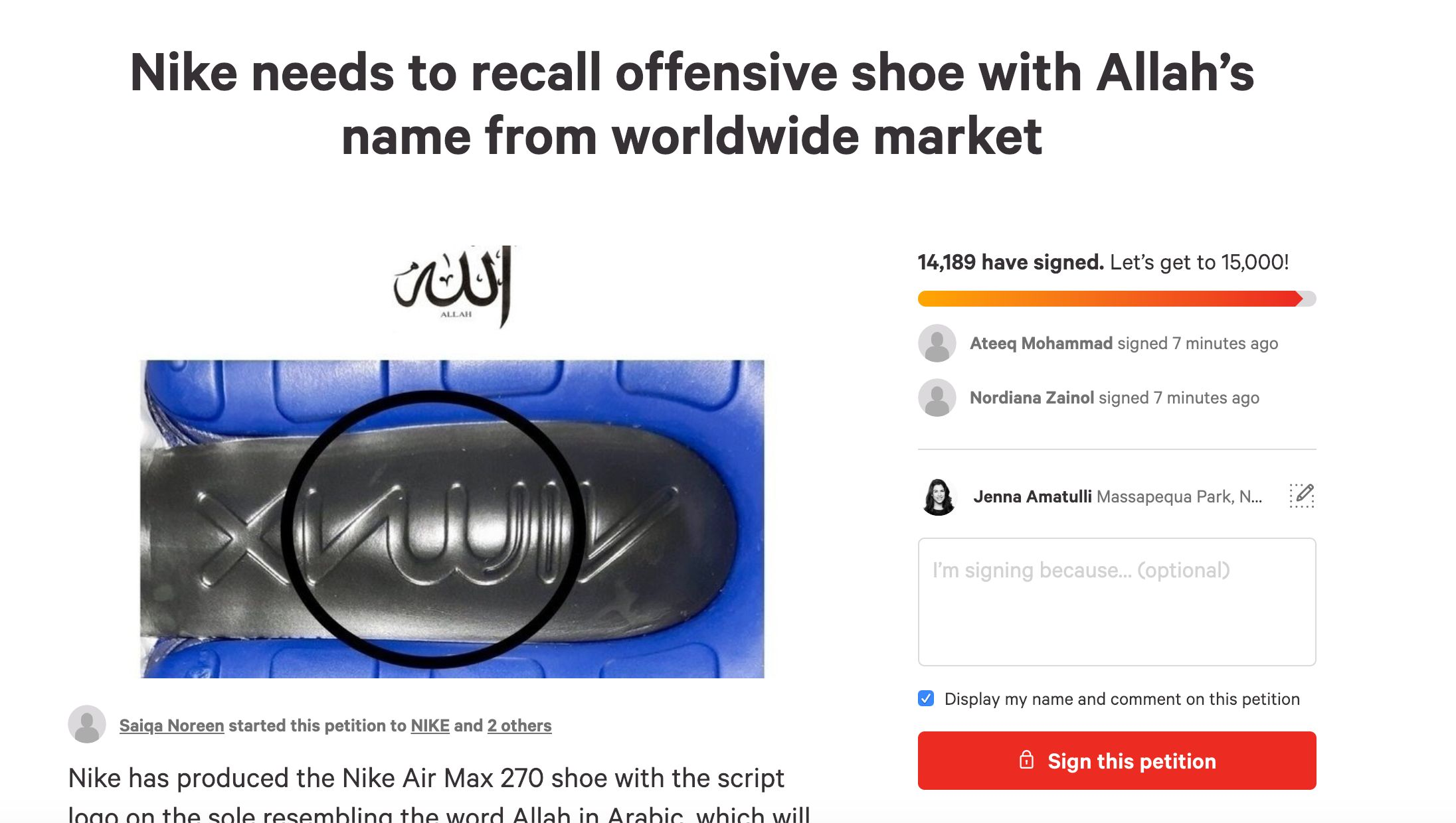 Muslims petition Nike to recall 'offensive' Air Max sneaker
