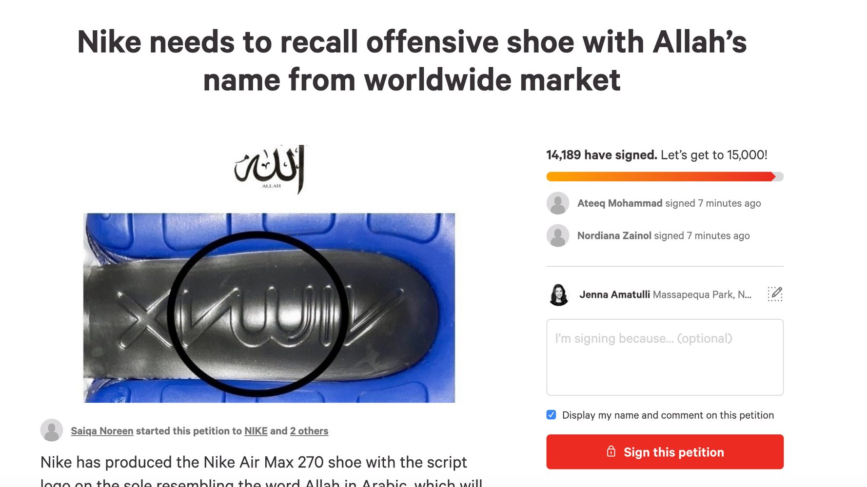 Thousands Say Nike Air Max Sneaker 'Offensive' To Muslims, Petition