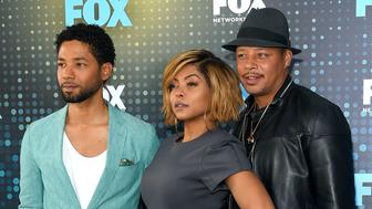 NEW YORK, NY - MAY 15:  (L-R) Jussie Smollet, Taraji P. Henson and Terrence Howard attend the 2017 FOX Upfront at Wollman Rink on May 15, 2017 in New York City.  (Photo by Ben Gabbe/Getty Images)