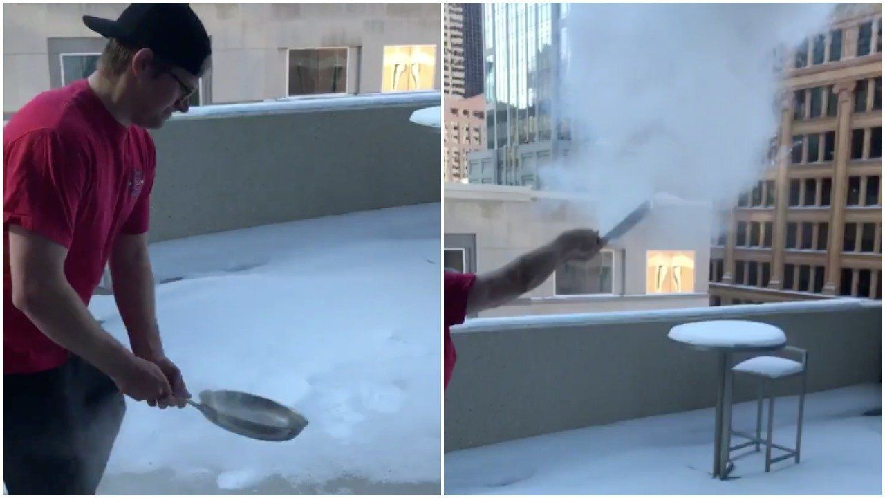 It Is So Cold In The Midwest That Boiling Water Is Immediately Turning To Icy