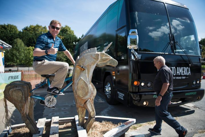 Chris Wayne rides a unicorn at IX Art Park in Charlottesville, Virginia, on Sept. 26, 2017, as part of HuffPost's Listen to A