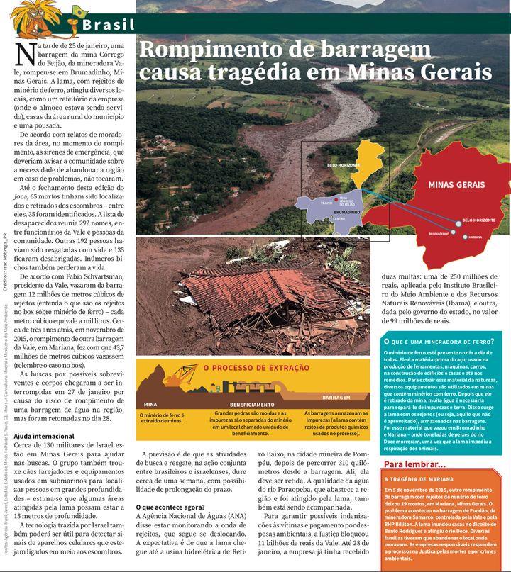Página do Joca, jornal para crianças e adolescentes, com reportagem sobre Brumadinho.