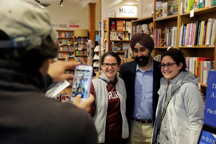 Hoboken's then-Mayor-elect Ravi Bhalla poses with supporters in a bookstore in New Jersey on Nov. 9, 2017. Bhalla is his <a h