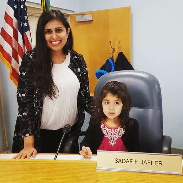 Sadaf Jaffer poses with her daughter at the Montgomery Township Municipal Building.