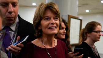 Sen. Lisa Murkowski (R-AK) speaks with reporters ahead of the weekly policy luncheons on Capitol Hill in Washington, U.S., October 2, 2018. REUTERS/Aaron P. Bernstein