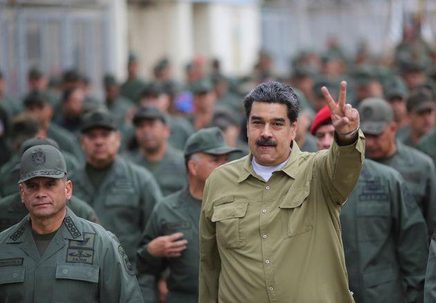 President Nicolás Maduro arrives at a military base in Caracas, Venezuela, on Jan. 30, 2019. He...