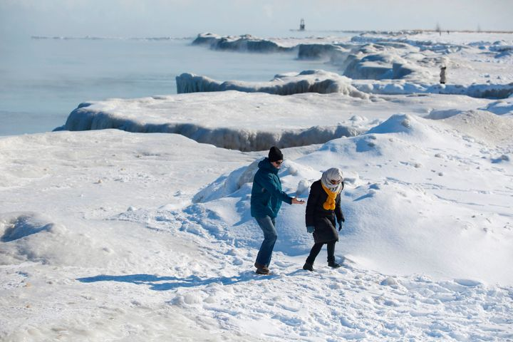 Lake Michigan's shoreline is frozen as temperatures dropped to minus 20 degrees Fahrenheit on Wednesday in Chicago.