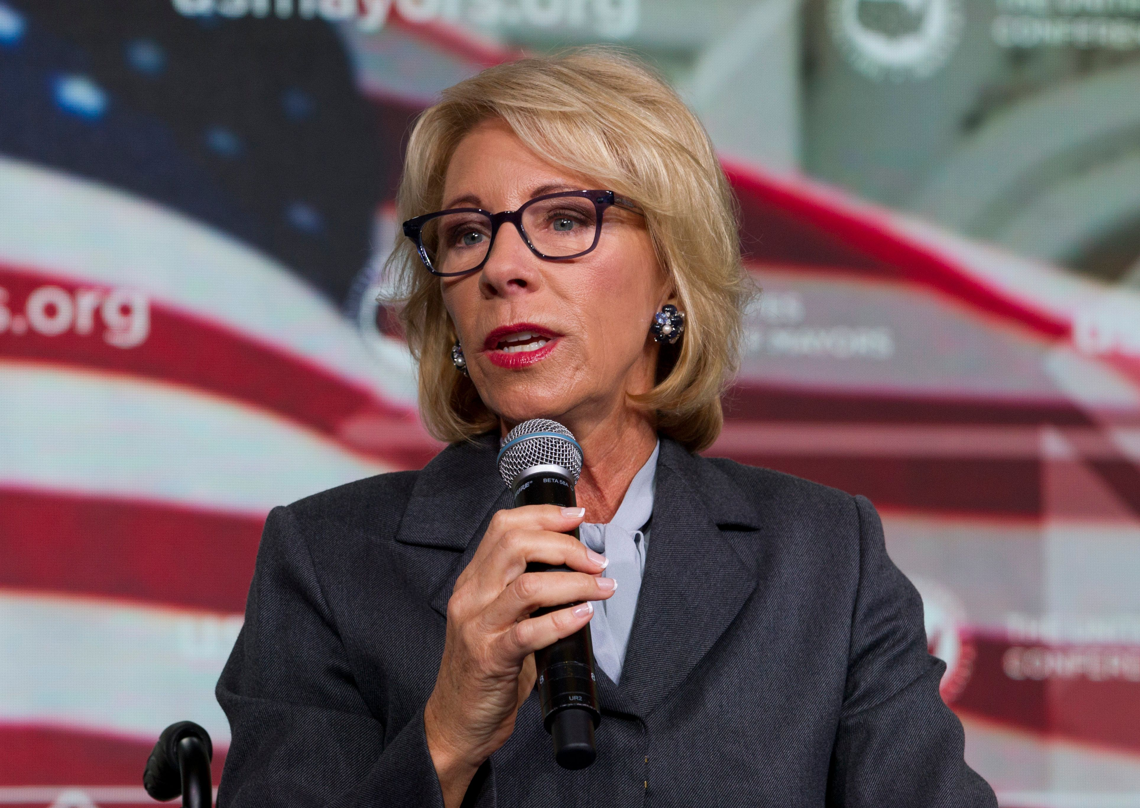 Education Secretary Betsy DeVos addressing the U.S. Conference of Mayors in January.